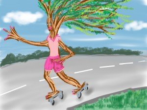""" I ride my bike, I roller skate, don't drive no car..."""